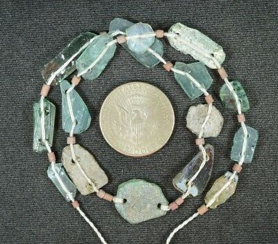 Ancient Roman Glass Beads 1 Medium Strand Aqua And Green 100 -200 Bc 846