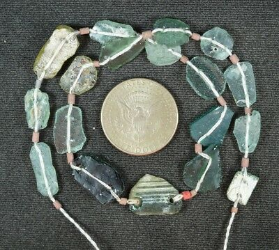 Ancient Roman Glass Beads 1 Medium Strand Aqua And Green 100 -200 Bc 847