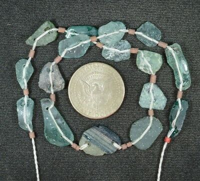 Ancient Roman Glass Beads 1 Medium Strand Aqua And Green 100 -200 Bc 849