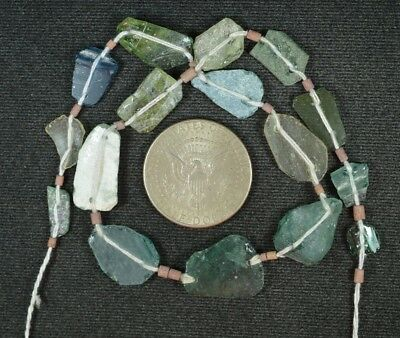 Ancient Roman Glass Beads 1 Medium Strand Aqua And Green 100 -200 Bc 853