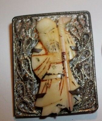 Vintage Bovine Bone Hand Painted Chinese Figure Carving prong Set in Silver Pin