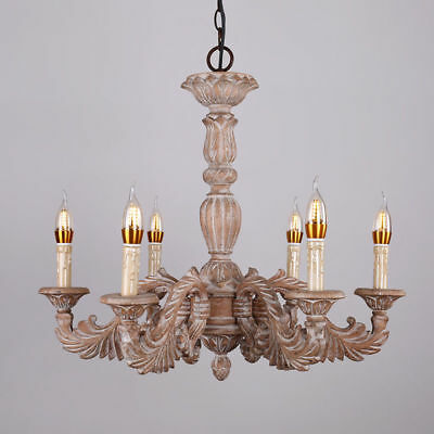 Retro Hand Carved Wood Scrolling Acanthus Leaf Chandelier & 6 Candle Style Bulb