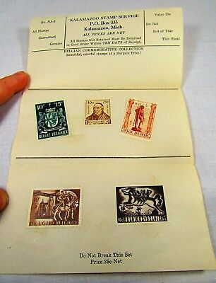 1940s Belgian Commemorative Postage Stamp Collection