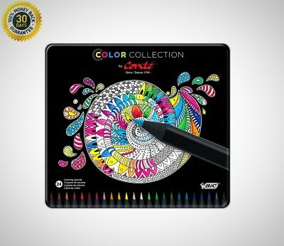 Color Collection By Conte Coloring Pencil Assorted Colors 24 Count Durable New
