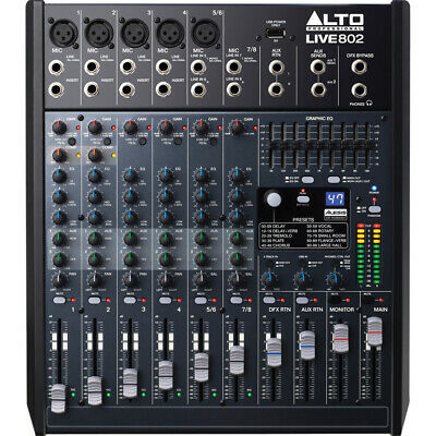 Alto LIVE 802 PA Mixer 8 Channel Live Sound Stage Mixing Board w/ FX & EQ
