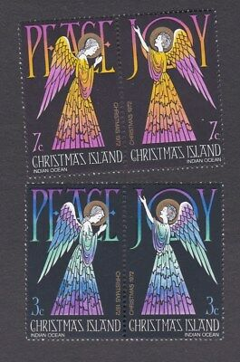 1972 CHRISTMAS ISLAND Christmas - Peace SET x 4 JOINED PAIRS MINT UNHINGED MUH
