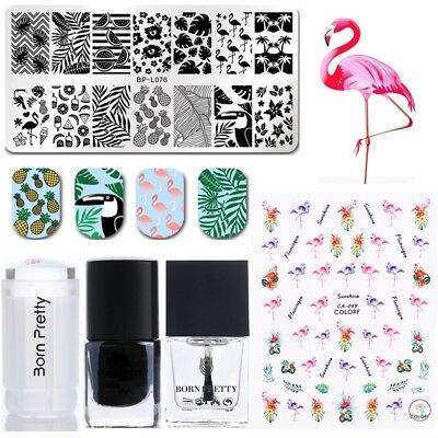 Nail Stamping Templates Stamp Polish Stamper Scraper 3D Sticker Summer Theme Kit