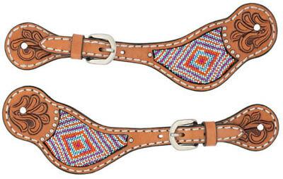 Weaver Turquoise Cross Collection Pink Beaded Spur Straps