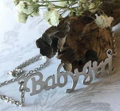 Babygirl Baby Girl Choker Necklace Silver Pendant Name Word Letter Gender Reveal
