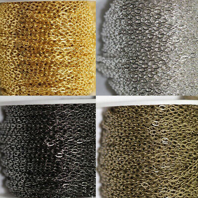 5/100M Metal Cable Link Chain For Bracelet/Necklace Jewelry Making Chain DIY Acc