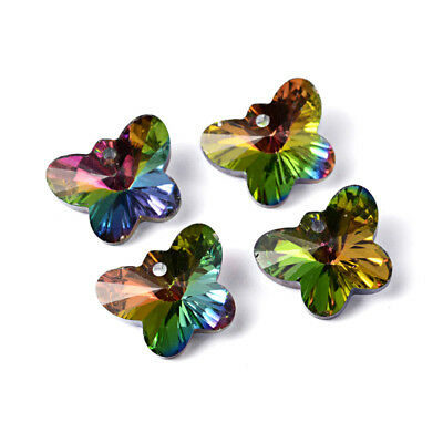 100pcs Handmade Rainbow Butterfly Glass Pendants Faceted Dangle Charms 12x15mm