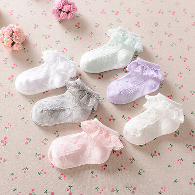 Cute Girls Frilly Lace Ankle Socks Low Cut Soft Cotton Socks for Baby Kids Girls