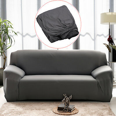 Super Stretch Sofa Cover Lounge Couch Removable Slipcover Protector 3Seater Grey