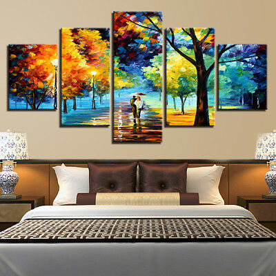 Abstract Wall Art Painting Walking In The Rain Scenery Canvas Print Home Decor