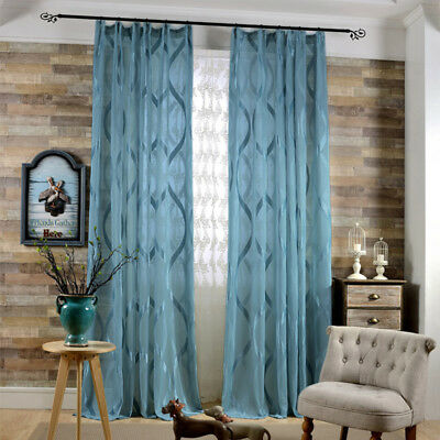 White Jacquard Sheer Curtains Blue Voile Shiny Stripe Tulle Window Drapes 63/84""