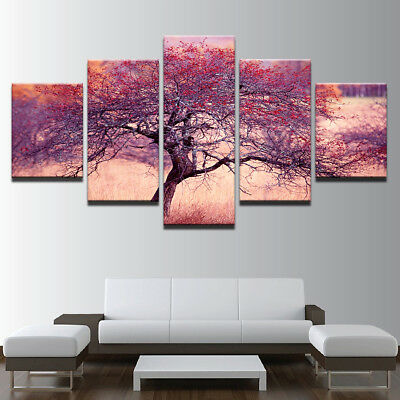 Framed Abstract Wall Art Painting Purple Red Tree Canvas Print Home Decor 5 Pcs
