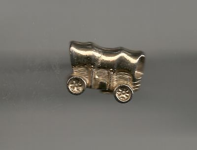 Vintage Sooner Transportation a Covered Wagon B light metal lapel pin