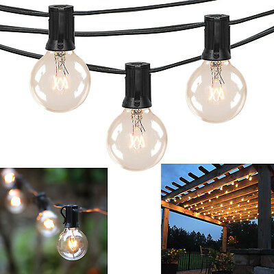 50Ft Outdoor Commercial Globe String Lights 50 Clear Bulbs Patio Deck Yard Decor