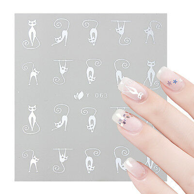 2 Sheets 3D Nail Stickers Gold Silver Cartoon Cat Nail Art Transfer Decals Tips