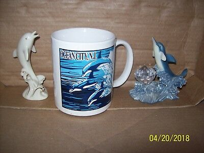 Dolphins - Ocean City, New Jersey Coffee Mug / White Lenox / Blue with Jewel