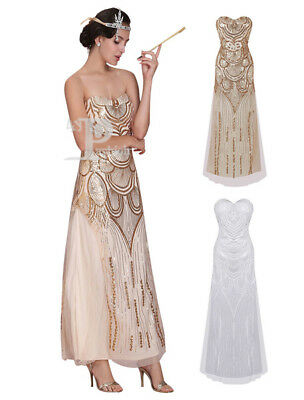 30d512727d9 Great Gatsby Flapper 1920s Vintage Costume Sequin Tassels Gold Maxi prom  dresses