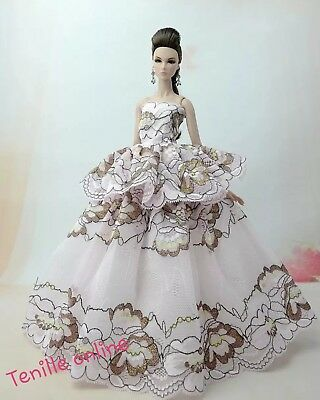 New Barbie doll clothes outfit princess gown wedding dress light pink & shoes