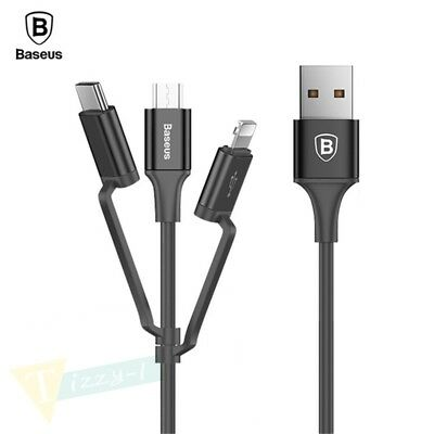3 in 1 USB Charger Fast Charging Data Cable For iPhone IOS TYPE C Android Micro