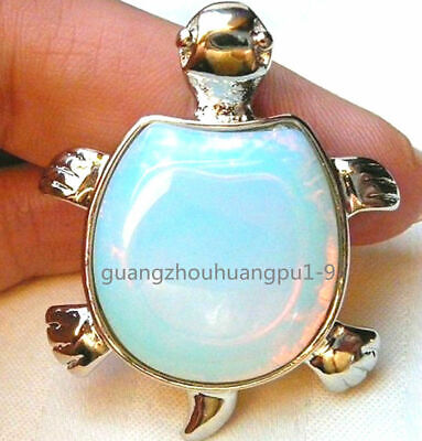 New Pretty Natural White Opal Gemstone Garden Turtle Pendant 17''