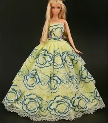 New barbie clothes outfit  princess wedding gown  dress yellow lace and shoes x1
