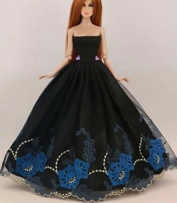 New Barbie clothes outfit princess wedding gown dress black lace and shoes x1