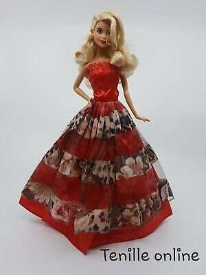 New Barbie clothes/ outfit / princess/wedding dress red  lace and shoes x1