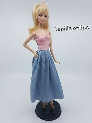 New Barbie clothes outfit long casual pretty dress everyday maxi strapless