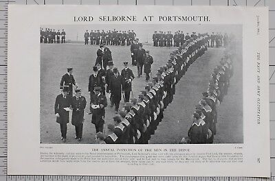 1901 Print Lord Selborne At Portsmouth Aunnual Inspection
