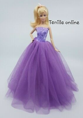 New Barbie clothes outfit princess wedding dress purple lace fluffy beautiful