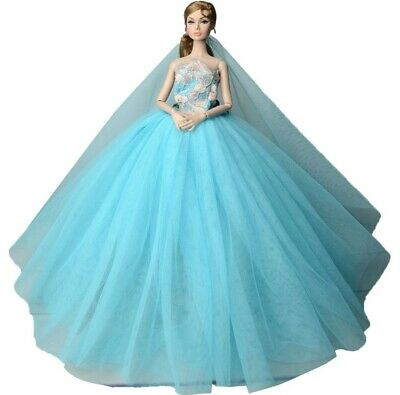 New Barbie clothes outfit princess wedding dress gown blue fluffy beautiful