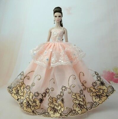 New Barbie dress clothes outfit princess wedding gown peach lace and shoes