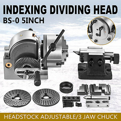 "BS-0 Dividing Head Set W/ 5"" 3 Jaw Chuck & Tailstock Milling Horizontal Indexing"