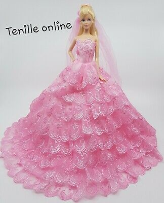 New Barbie dress clothes outfit princess beautiful big wedding gown dress pink
