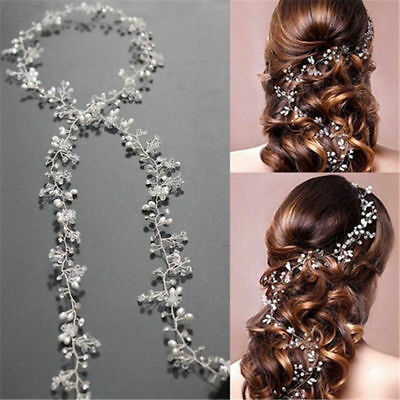 Women Pearl Wedding Hair Vine Crystal Bridal Accessories Diamante Headbands GUT