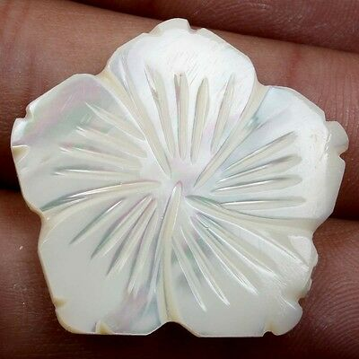 Carving Flower 19.5 Cts Real WHITE MOTHER OF PEARL Gemstone 29x29 mm S-22201