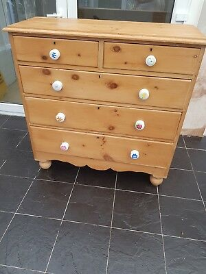 Victorian Chest Of Drawers Antique Pine With Legs 5 Draws.