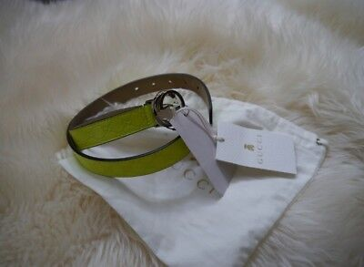 NWT 100% AUTH Gucci Kids Micro Guccissima  Soft Leather Fluo Yellow Belt M $180