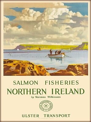 Salmon Fishereries North Ireland Great Britain Vintage Travel Art Poster Print