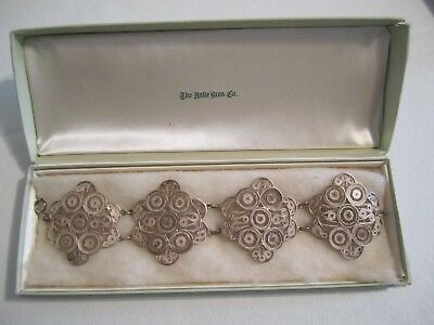 Antique/ Vtg~Estate Handmade Silver Filigree Wide Bracelet