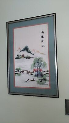 """Vintage  Chinese Silk Embroidered picture -""""THE FISHING""""- SIGNED,Framed, -Nice"""