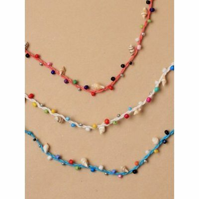 JTY010 Coloured bead and shell string anklet.-