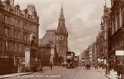 TRONGATE LOOKING WEST, GLASGOW, SCOTLAND : REAL PHOTOGRAPH POSTCARD (1920s)