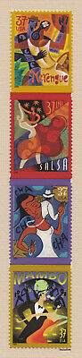 Scott #3939-42  Let's Dance - Latin Dances 37c (Vertical Strip of 4) 2005 MNH