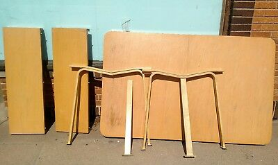 1940's 1950's Cessna Aircraft mid century modern dining table furniture 2 leaves