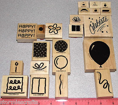 Birthday Stamp Sets 2 Boxes Balloon Cake Flowers by Stampin Up Polka Dot Party